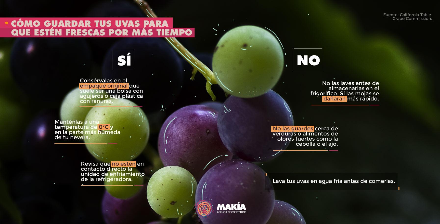 cómo guardar las uvas