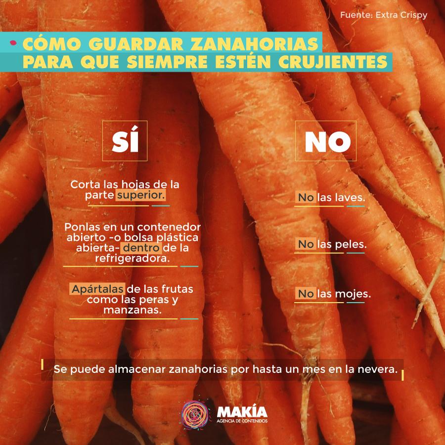 cómo guardar las zanahorias